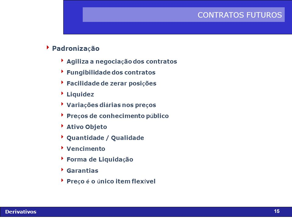 CONTRATOS FUTUROS Padronização Agiliza a negociação dos contratos