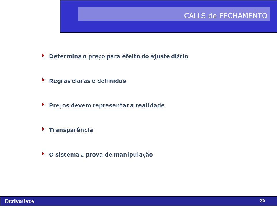 CALLS de FECHAMENTO Determina o preço para efeito do ajuste diário