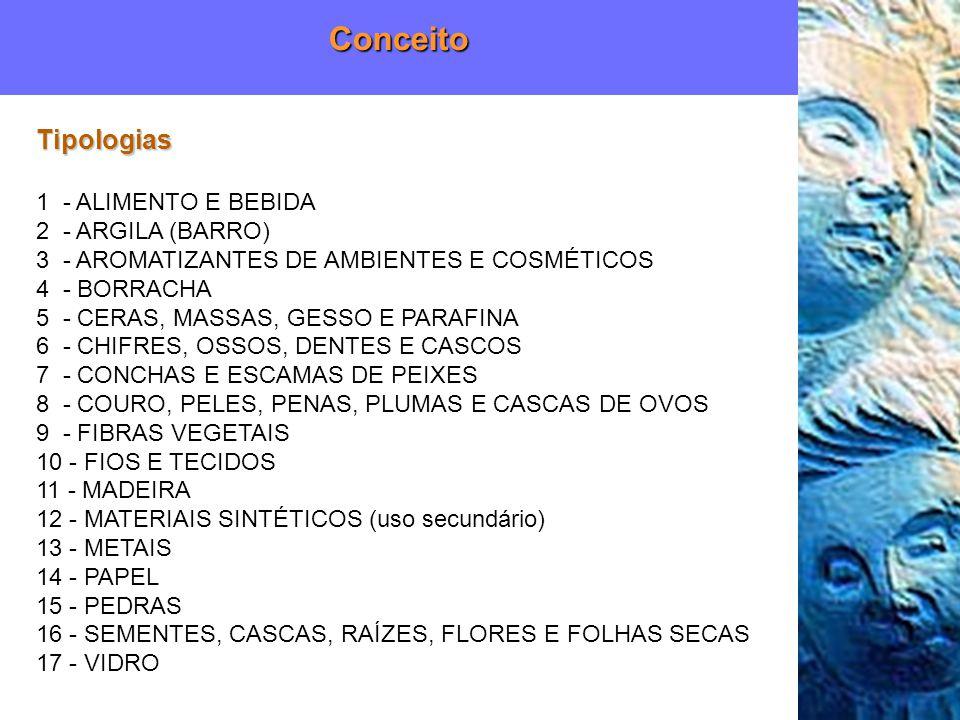 Conceito Tipologias 1 - ALIMENTO E BEBIDA 2 - ARGILA (BARRO)