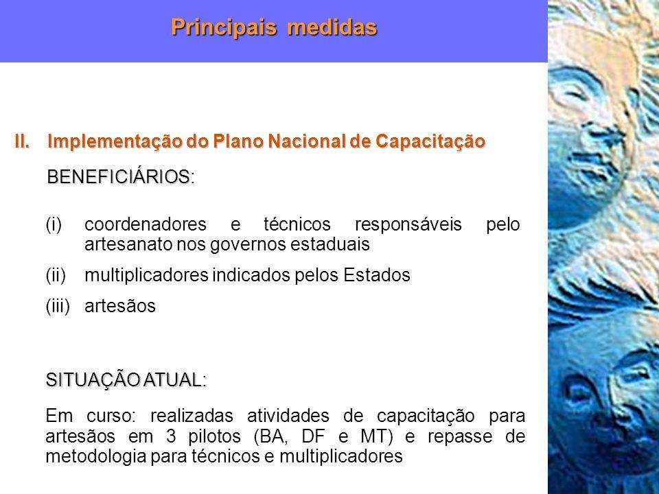 Principais medidas Implementação do Plano Nacional de Capacitação