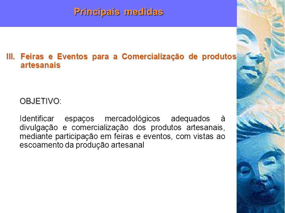 Principais medidas Feiras e Eventos para a Comercialização de produtos artesanais. OBJETIVO: