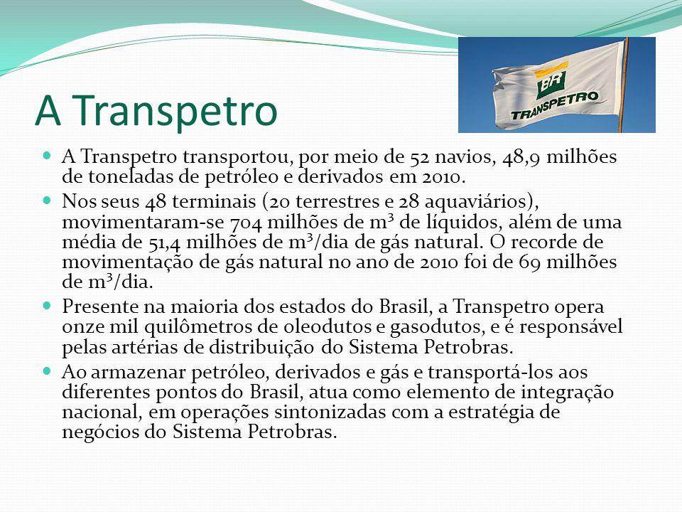 A Transpetro A Transpetro transportou, por meio de 52 navios, 48,9 milhões de toneladas de petróleo e derivados em 2010.