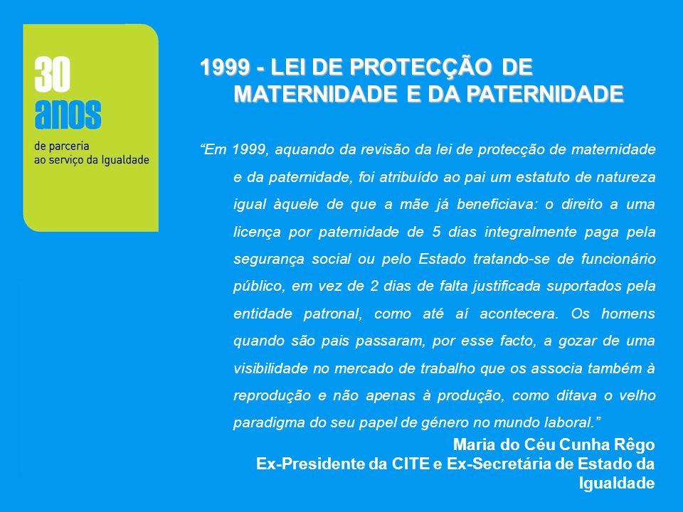 1999 - LEI DE PROTECÇÃO DE MATERNIDADE E DA PATERNIDADE