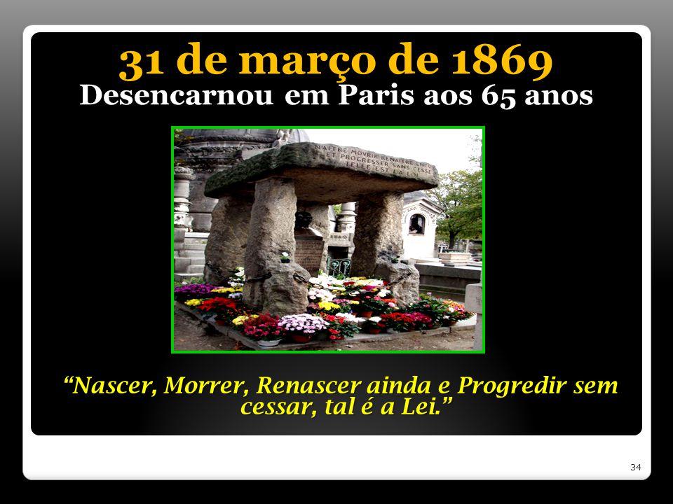 31 de março de 1869 Desencarnou em Paris aos 65 anos