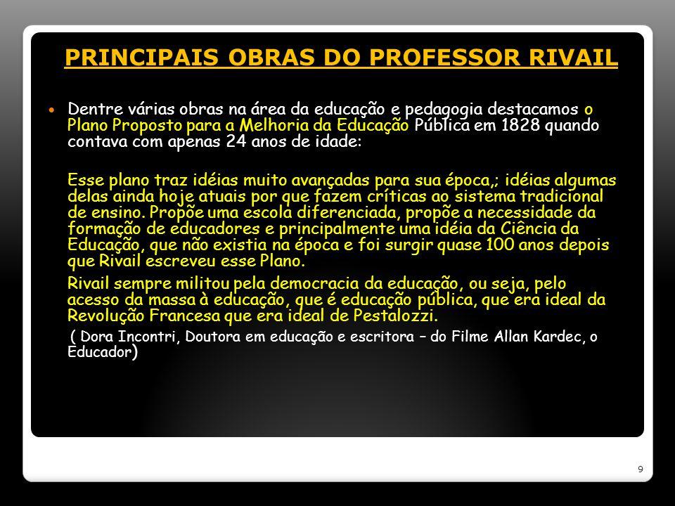 PRINCIPAIS OBRAS DO PROFESSOR RIVAIL