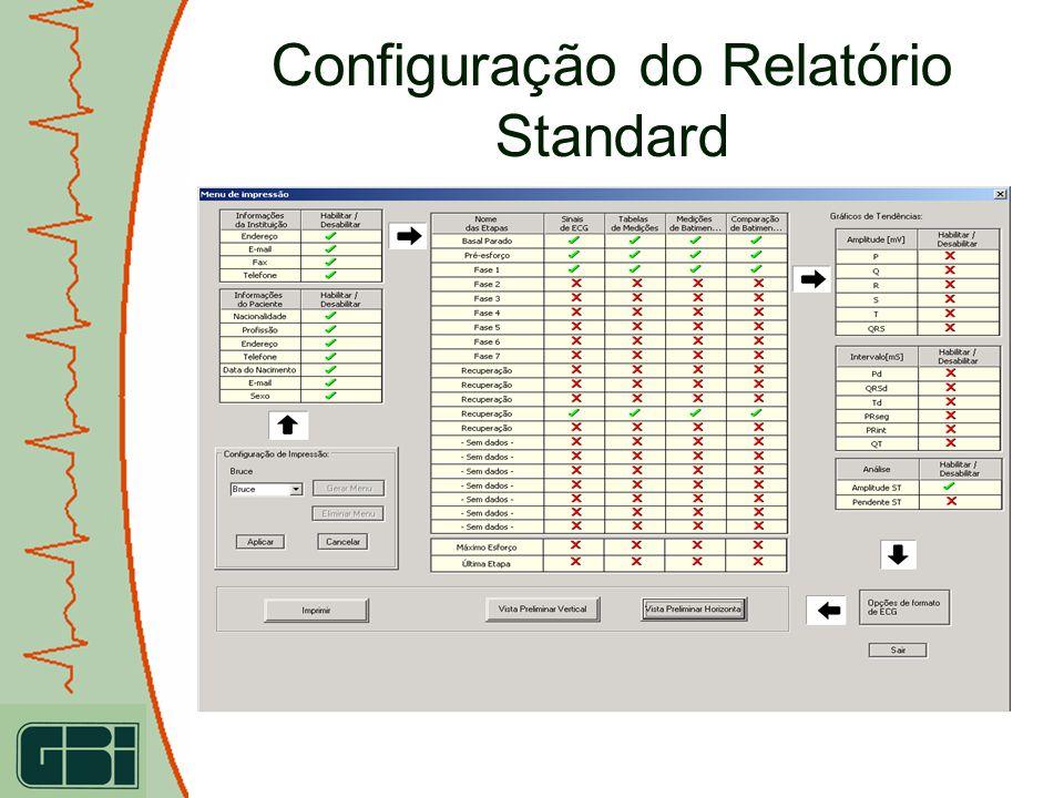 Configuração do Relatório Standard