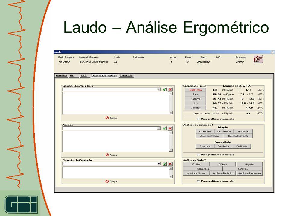 Laudo – Análise Ergométrico