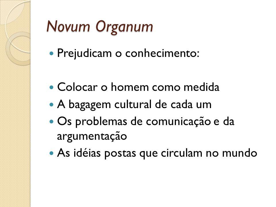 Novum Organum Prejudicam o conhecimento: Colocar o homem como medida