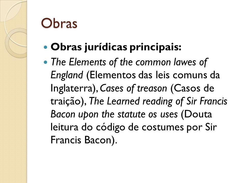 Obras Obras jurídicas principais: