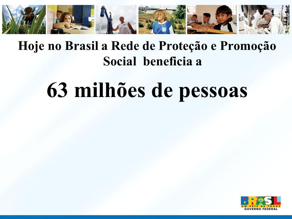 Hoje no Brasil a Rede de Proteção e Promoção Social beneficia a