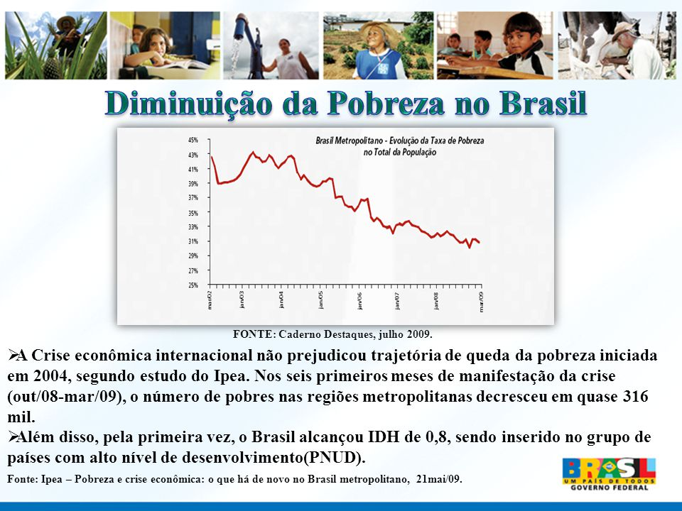 Diminuição da Pobreza no Brasil FONTE: Caderno Destaques, julho 2009.