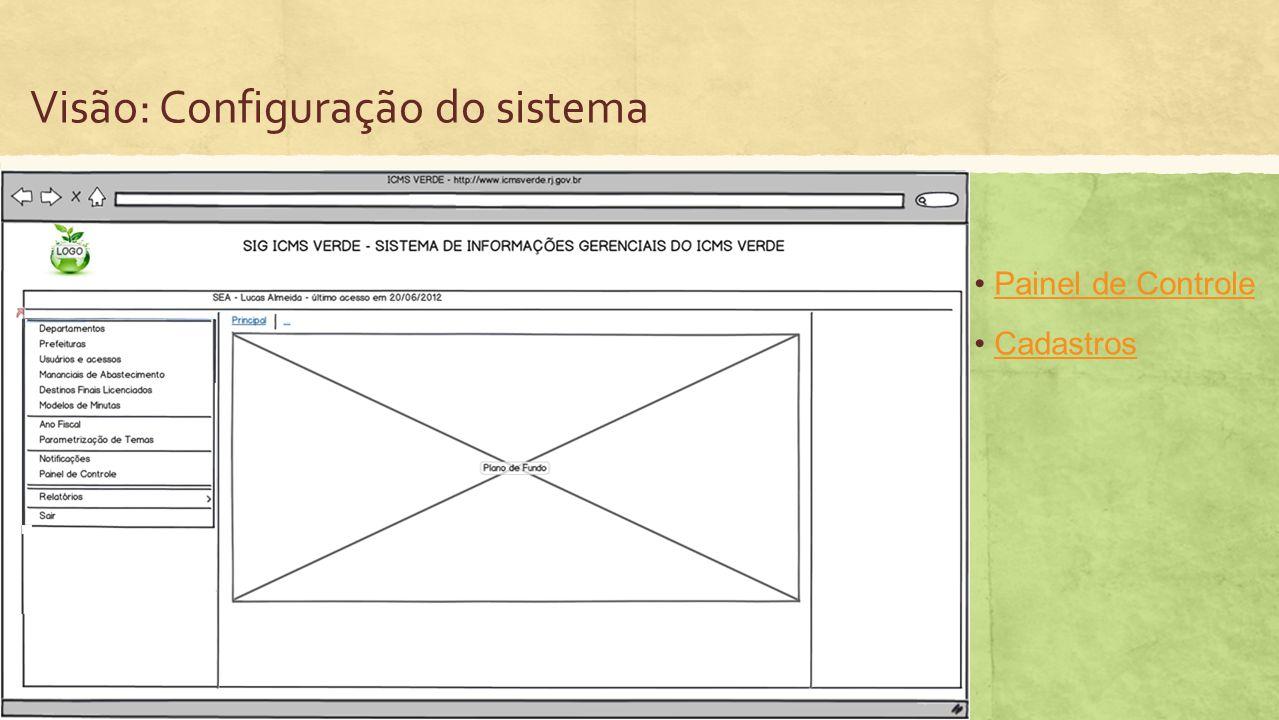 Visão: Configuração do sistema