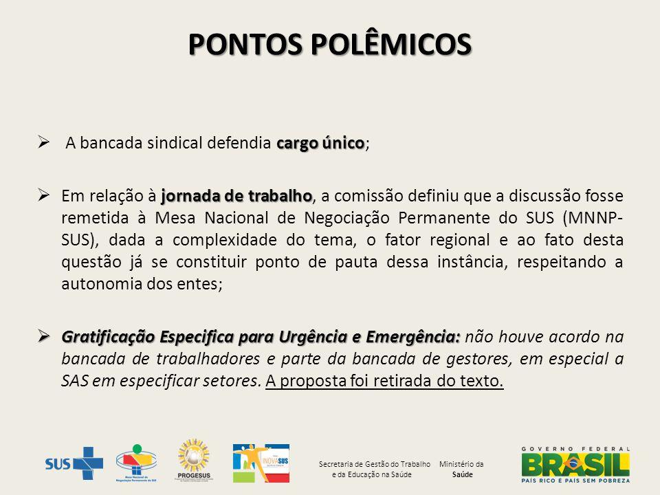 pontos polêmicos A bancada sindical defendia cargo único;