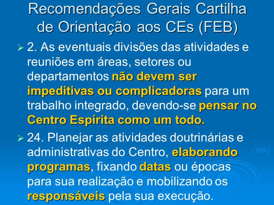 Recomendações Gerais Cartilha de Orientação aos CEs (FEB)