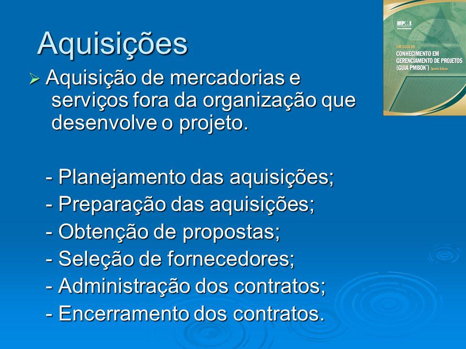 Aquisições Aquisição de mercadorias e serviços fora da organização que desenvolve o projeto. - Planejamento das aquisições;