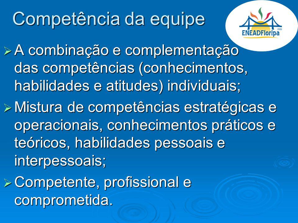 Competência da equipe A combinação e complementação das competências (conhecimentos, habilidades e atitudes) individuais;