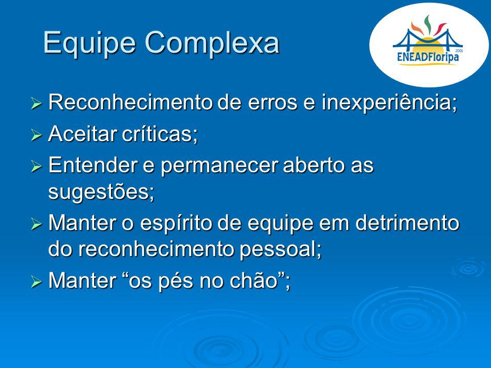 Equipe Complexa Reconhecimento de erros e inexperiência;