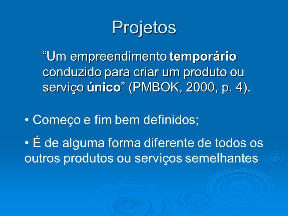 Projetos Um empreendimento temporário conduzido para criar um produto ou serviço único (PMBOK, 2000, p. 4).