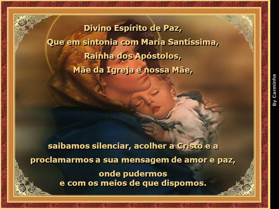 Que em sintonia com Maria Santíssima, Rainha dos Apóstolos,