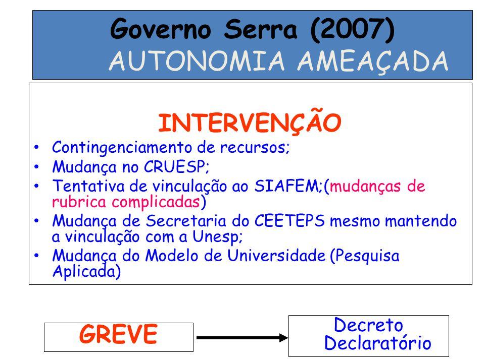 Governo Serra (2007) AUTONOMIA AMEAÇADA