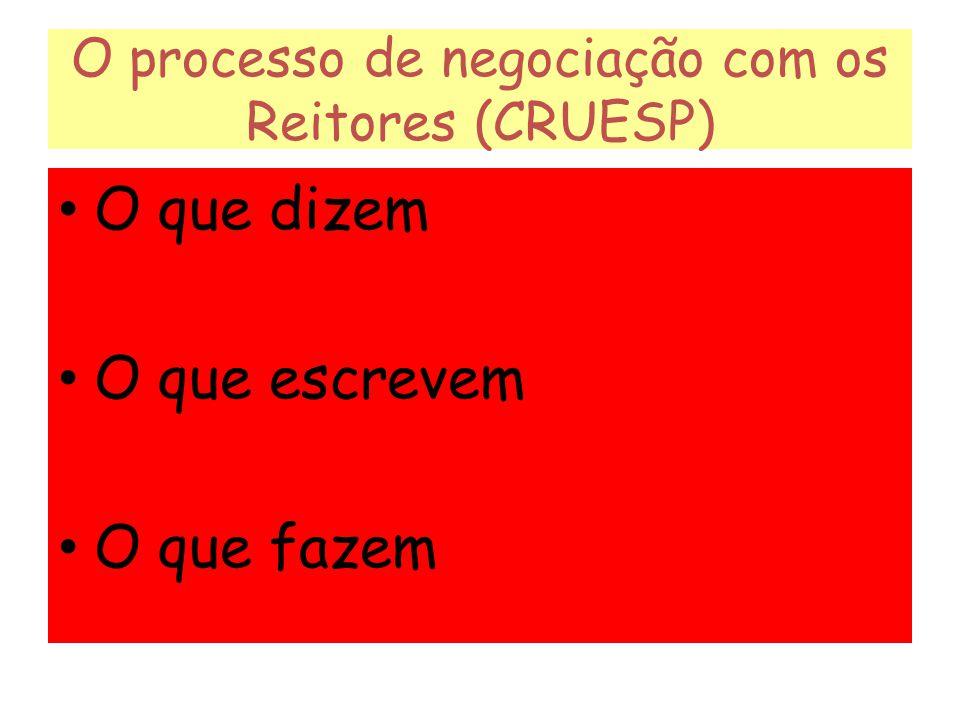 O processo de negociação com os Reitores (CRUESP)