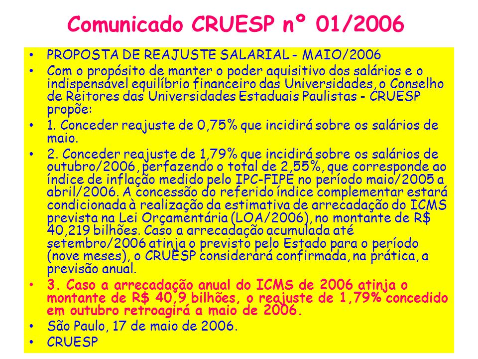 Comunicado CRUESP nº 01/2006 PROPOSTA DE REAJUSTE SALARIAL - MAIO/2006