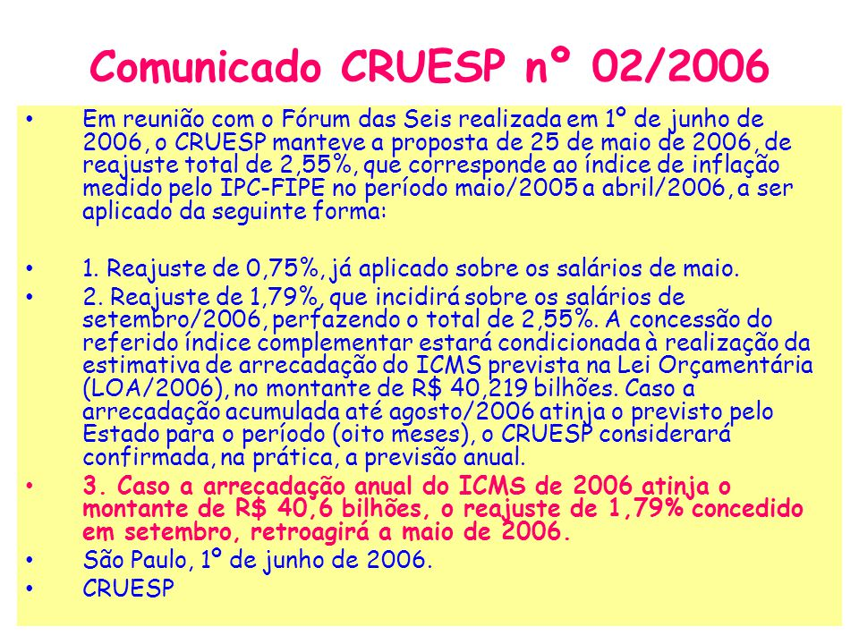 Comunicado CRUESP nº 02/2006