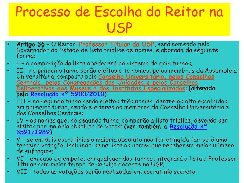 Processo de Escolha do Reitor na USP