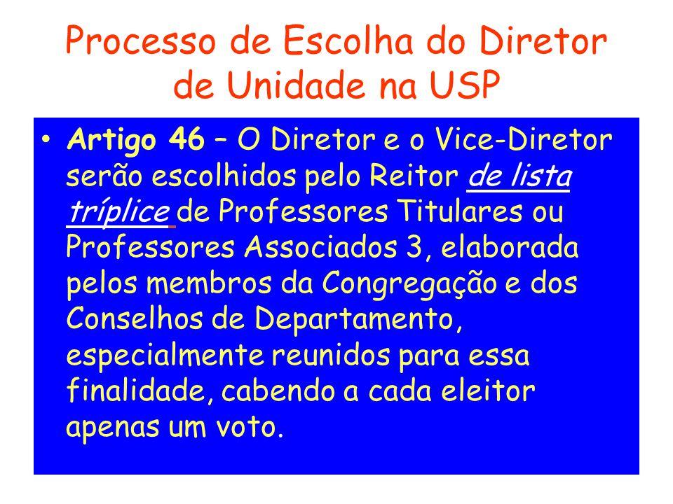 Processo de Escolha do Diretor de Unidade na USP
