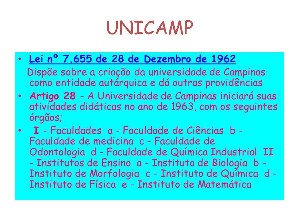 UNICAMP Lei nº 7.655 de 28 de Dezembro de 1962