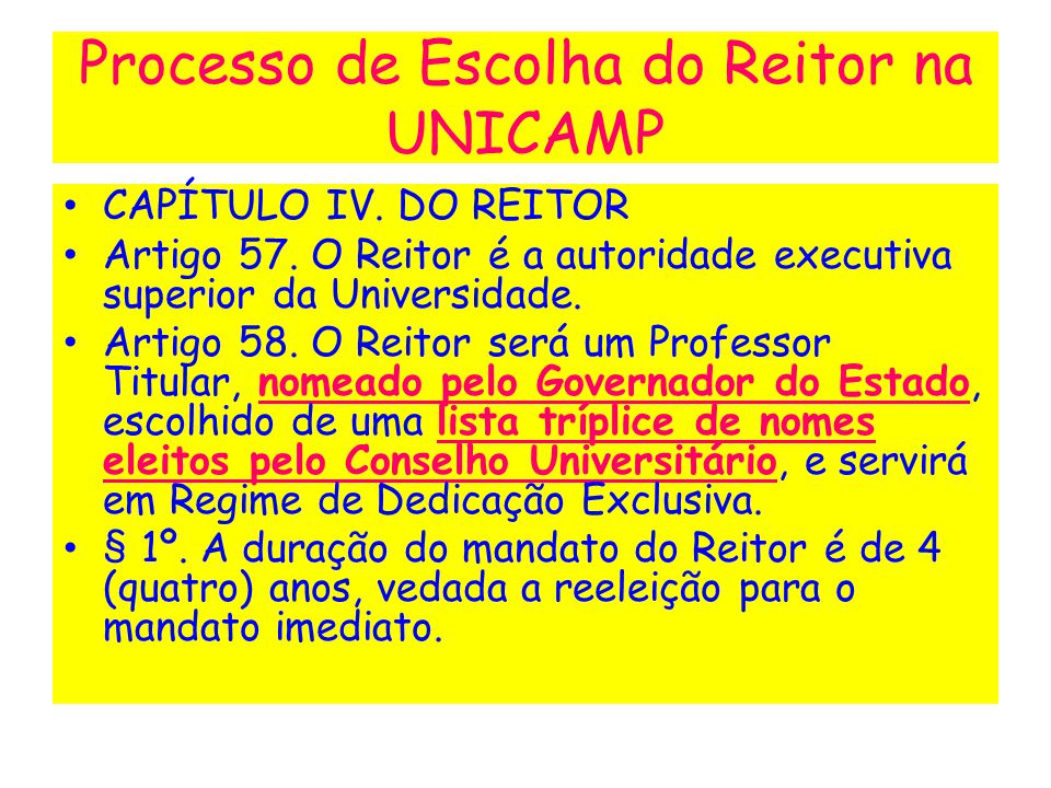 Processo de Escolha do Reitor na UNICAMP