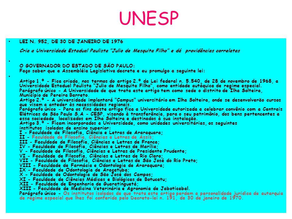 UNESP LEI N. 952, DE 30 DE JANEIRO DE 1976 Cria a Universidade Estadual Paulista Julio de Mesquita Filho e dá providências correlatas.