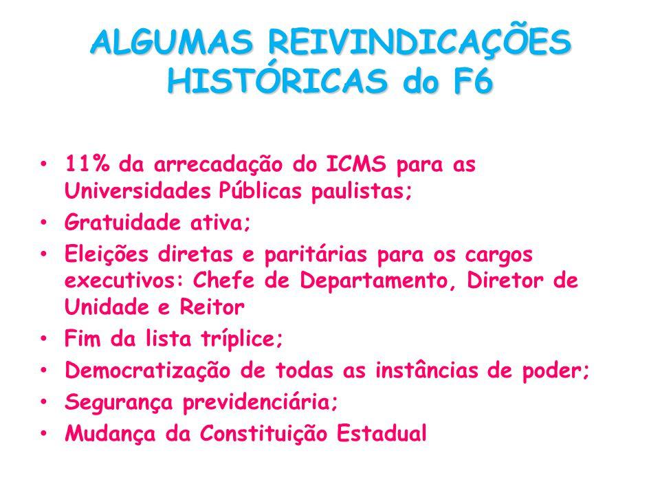 ALGUMAS REIVINDICAÇÕES HISTÓRICAS do F6