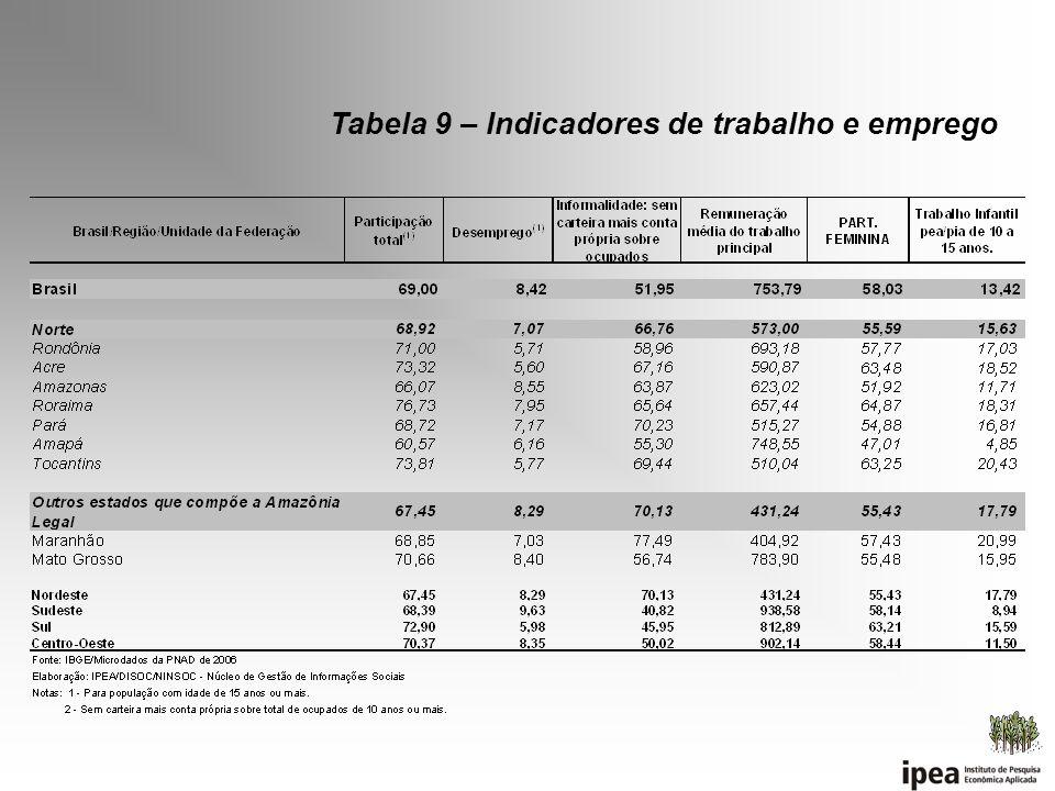Tabela 9 – Indicadores de trabalho e emprego