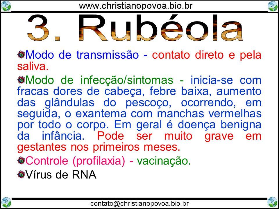 3. Rubéola Modo de transmissão - contato direto e pela saliva.