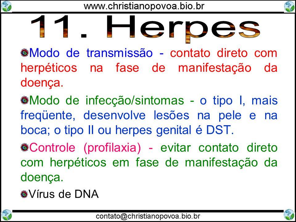 11. Herpes Modo de transmissão - contato direto com herpéticos na fase de manifestação da doença.
