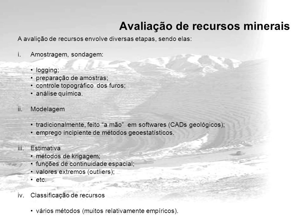 Avaliação de recursos minerais