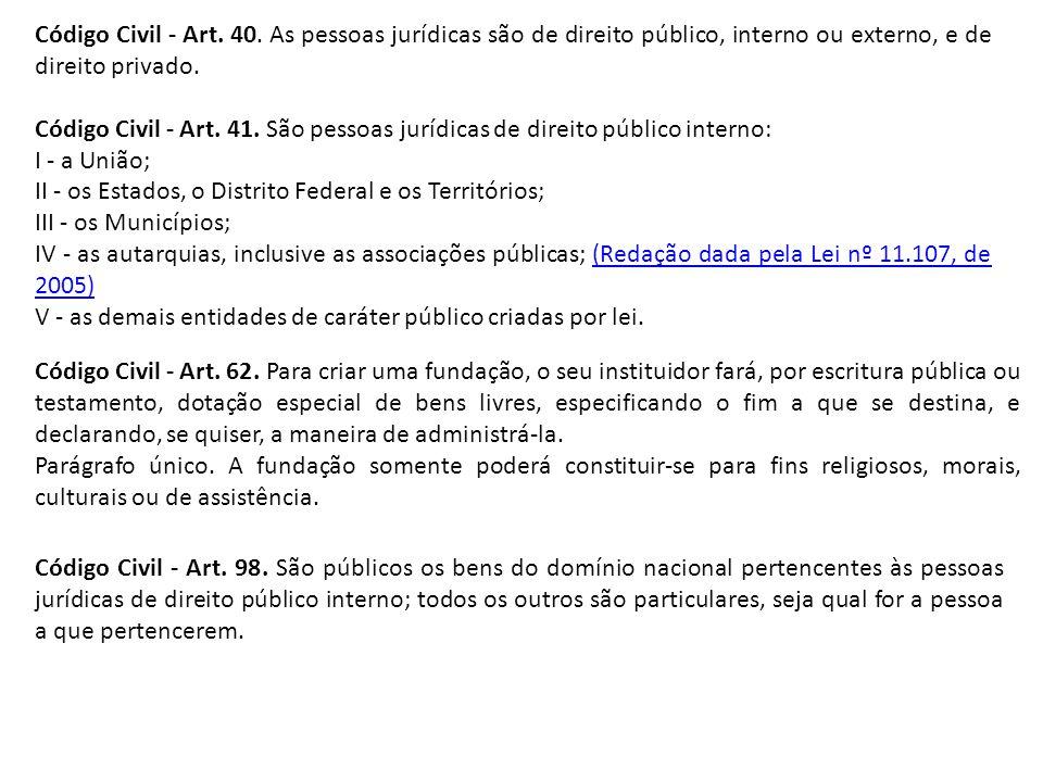 Código Civil - Art. 40. As pessoas jurídicas são de direito público, interno ou externo, e de direito privado.