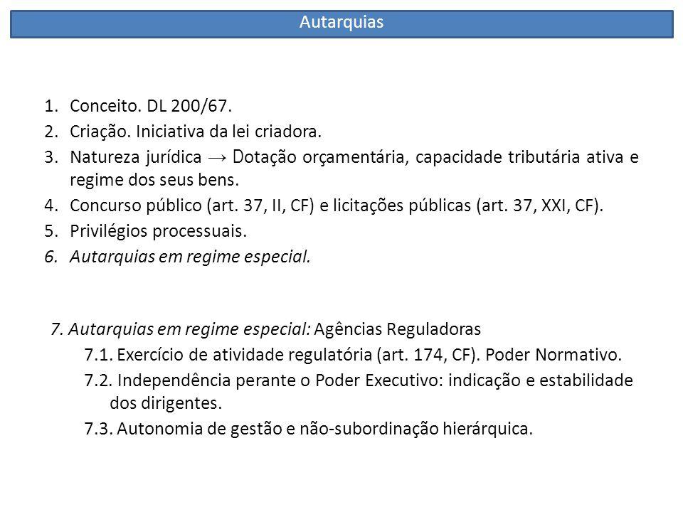 Autarquias Conceito. DL 200/67. Criação. Iniciativa da lei criadora.