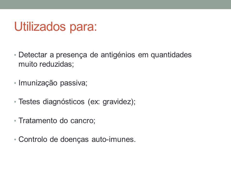 Utilizados para: Detectar a presença de antigénios em quantidades muito reduzidas; Imunização passiva;