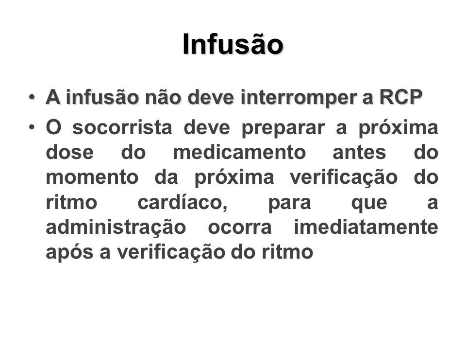 Infusão A infusão não deve interromper a RCP