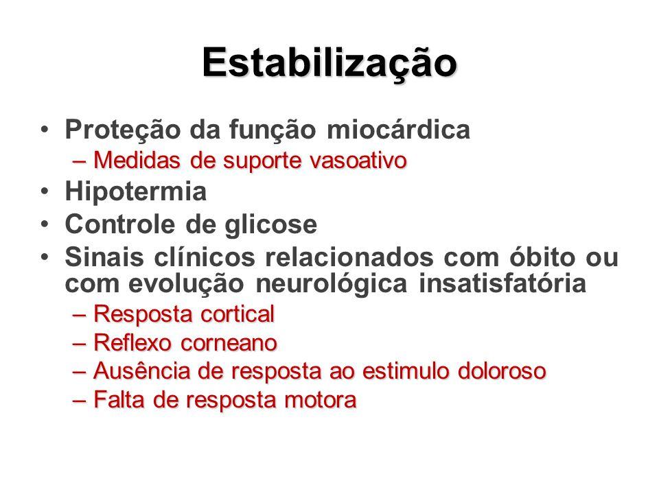 Estabilização Proteção da função miocárdica Hipotermia