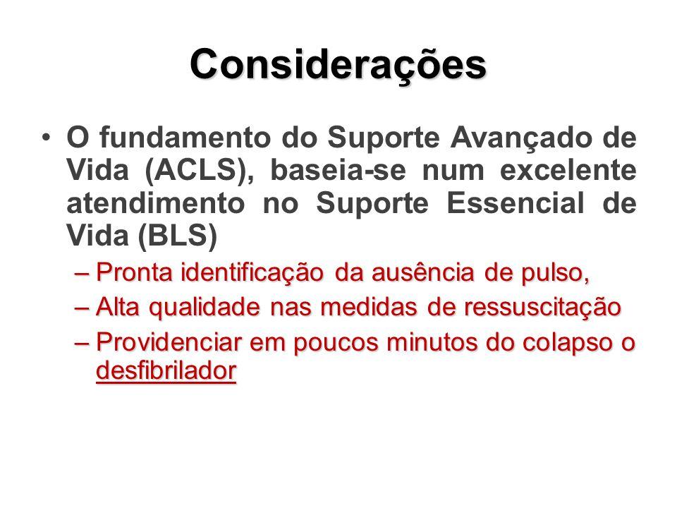 Considerações O fundamento do Suporte Avançado de Vida (ACLS), baseia-se num excelente atendimento no Suporte Essencial de Vida (BLS)