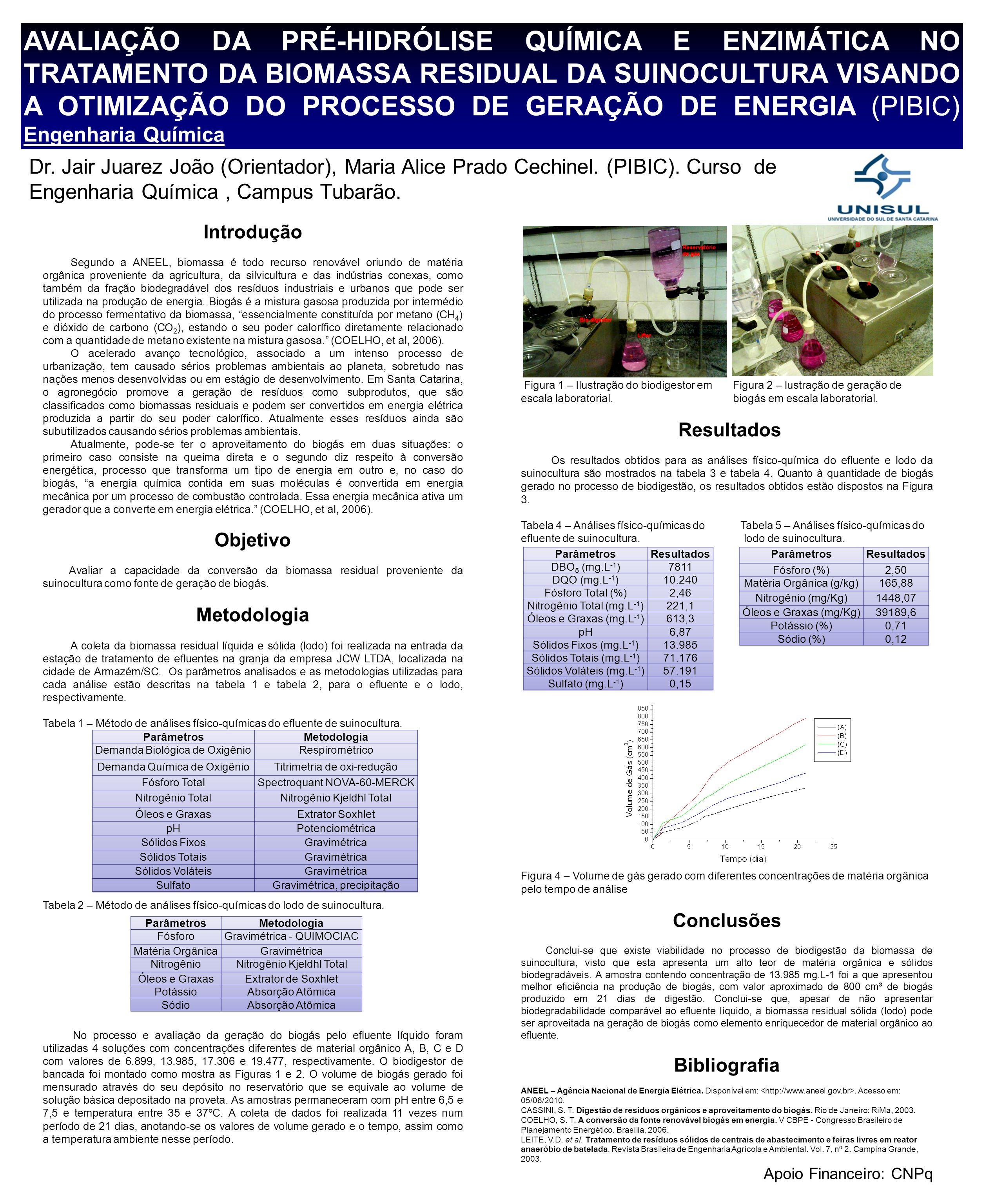AVALIAÇÃO DA PRÉ-HIDRÓLISE QUÍMICA E ENZIMÁTICA NO TRATAMENTO DA BIOMASSA RESIDUAL DA SUINOCULTURA VISANDO A OTIMIZAÇÃO DO PROCESSO DE GERAÇÃO DE ENERGIA (PIBIC) Engenharia Química