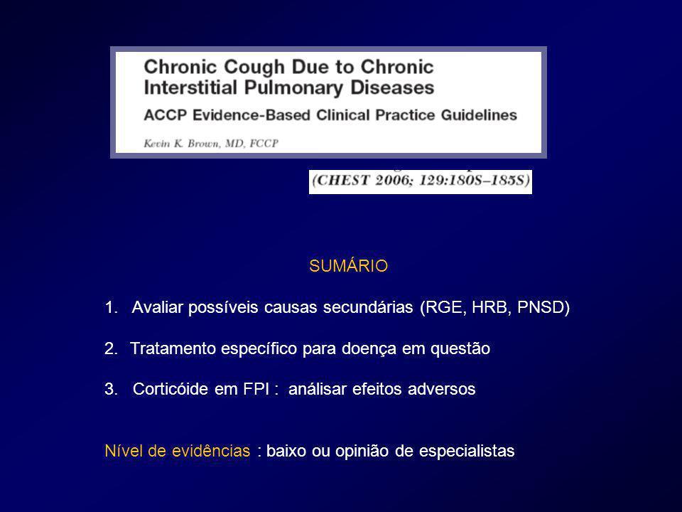 SUMÁRIO 1. Avaliar possíveis causas secundárias (RGE, HRB, PNSD) Tratamento específico para doença em questão.