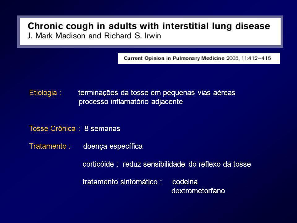 Etiologia : terminações da tosse em pequenas vias aéreas