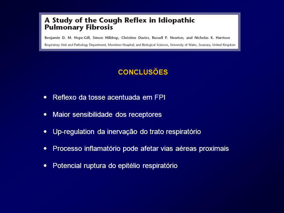 CONCLUSÕES  Reflexo da tosse acentuada em FPI.  Maior sensibilidade dos receptores.  Up-regulation da inervação do trato respiratório.