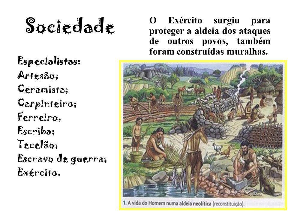 Sociedade O Exército surgiu para proteger a aldeia dos ataques de outros povos, também foram construídas muralhas.