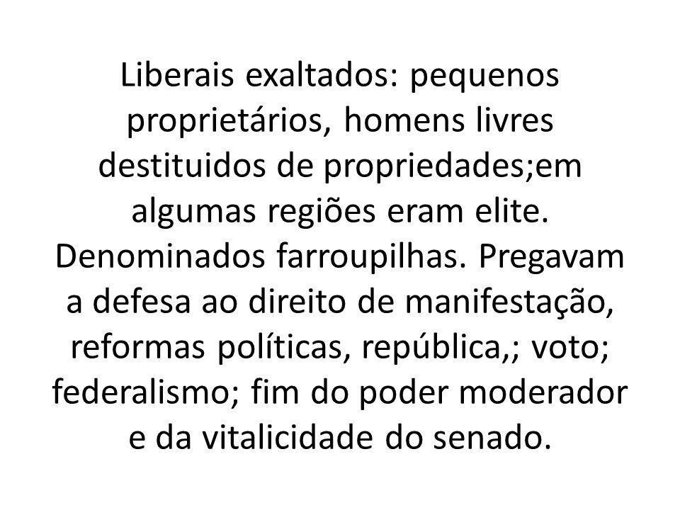 Liberais exaltados: pequenos proprietários, homens livres destituidos de propriedades;em algumas regiões eram elite.