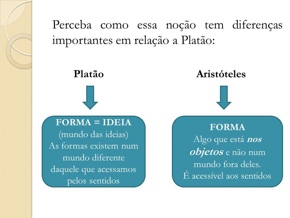 Perceba como essa noção tem diferenças importantes em relação a Platão: